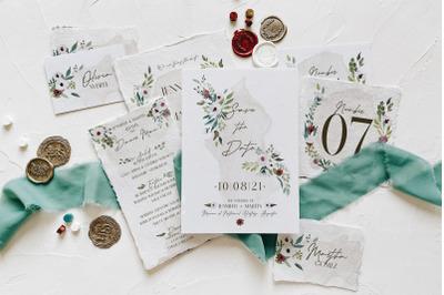White & Green Foliage Wedding Suite