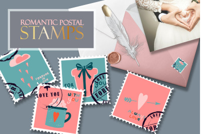 Postage stamps romantic for Valentine's Day