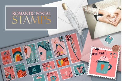 Postage stamps romantic for Valentine's Day BIG
