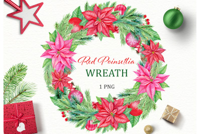 Christmas Red Poinsettia wreath watercolor clipart. Christmas star