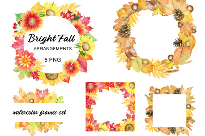 Watercolor fall arrangements clipart. Frames with leaves and flowers