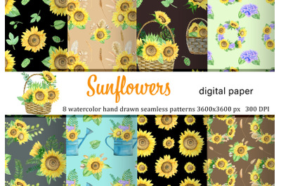 Watercolor sunflowers boho seamless pattern. Autumn flowers.