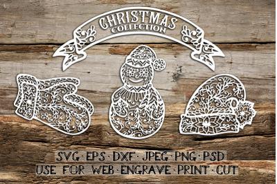 Set of Christmas elements   SVG DXF EPS PSD PNG JPEG