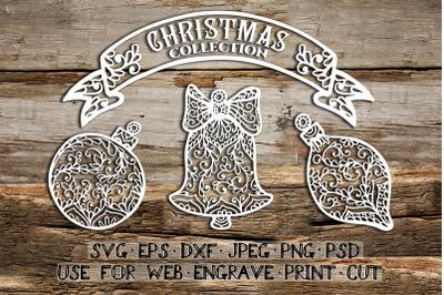 Set of Christmas templates   SVG DXF EPS PSD PNG JPEG
