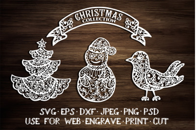 Christmas element templates   SVG DXF EPS PSD PNG JPEG