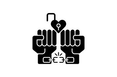 Free love black glyph icon