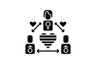 Bisexual life black glyph icon
