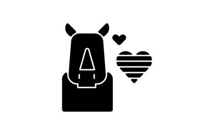 Pride rhinoceros black glyph icon