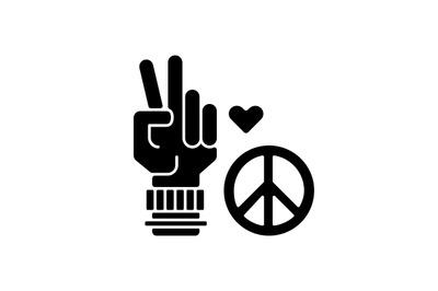 Peace black glyph icon