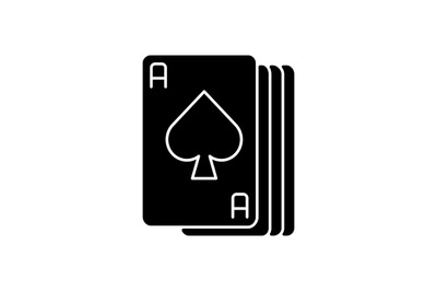 Ace cards black glyph icon