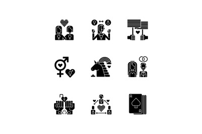 Gay symbolics black glyph icons set on white space