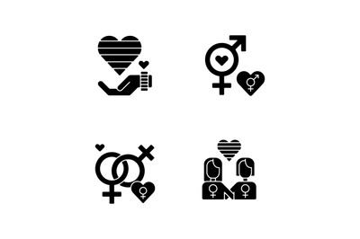 Peaceful pride parade black glyph icons set on white space