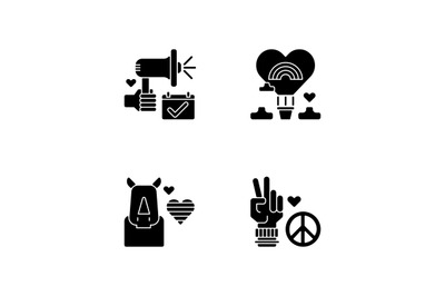 LGBT movement black glyph icons set on white space