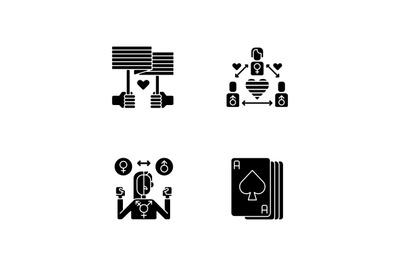 Partner choice black glyph icons set on white space
