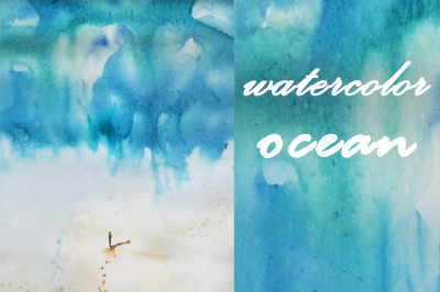 watercolor nature and landscape. Summer. ocean. sea and wave with huma