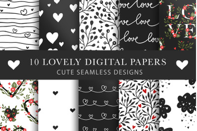 Valentines Day Seamless Pattern Set.