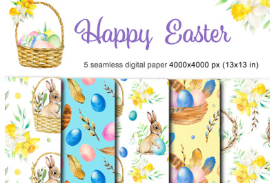 Watercolor happy easter digital paper pack. Spring seamless pattern.