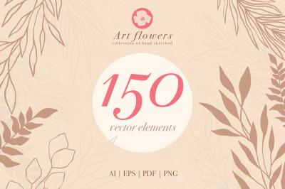 150 flowers vector elements