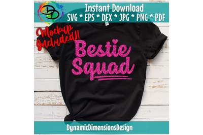 Bestie Squad SVG Cut File, commercial use, instant download, Best Frie