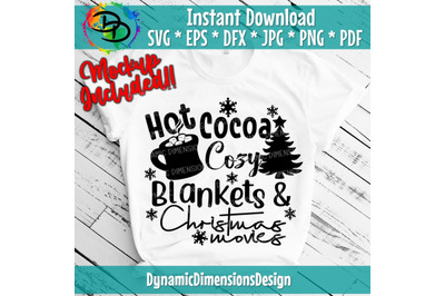 Christmas SVG, Hot Cocoa, Christmas Movies, blanket, Holiday SVG, Chri