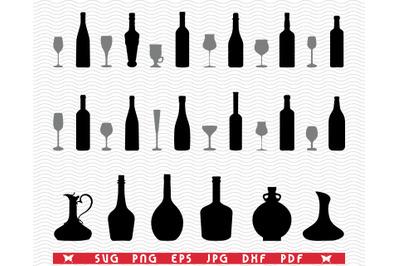 SVG Glasses and Bottles, Black silhouette, Digital clipart