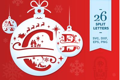 Christmas Split Letters - Christmas Monogram SVG