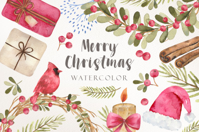 Watercolor christmas wreath and cliparts