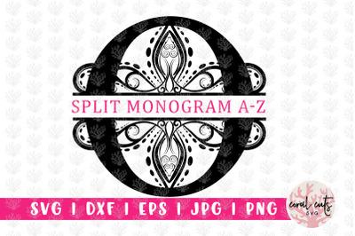 Traditional Split Monogram - Alphabets A to Z - EPS SVG DXF JPG PNG