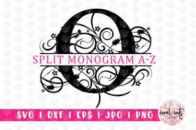 Floral Split Monogram - Alphabets A to Z - EPS SVG DXF JPG PNG