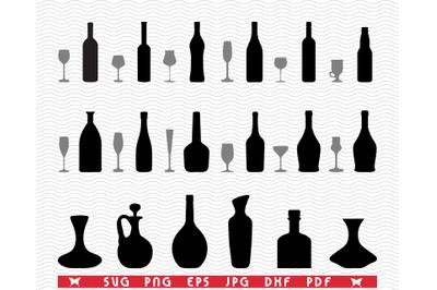 SVG Glasses, Bottles, Black silhouette, Digital clipart