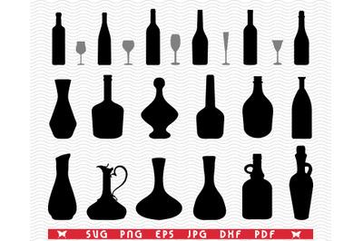 SVG Glasses, Bottles, Black silhouettes, Digital clipart