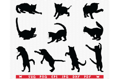 SVG Cats, Black Silhouettes, Digital clipart