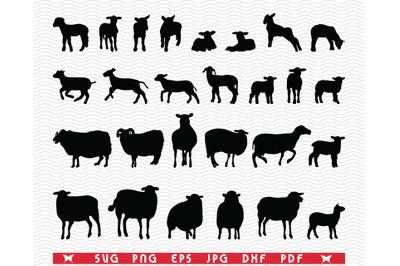 SVG Sheep and Lamb, Black silhouettes, Digital clipart