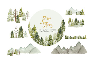 Winter Mountain Pine Trees Frame, Winter Christmas Tree clipart, Water