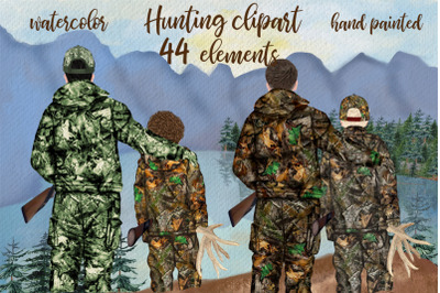 Hunting clipart Father and son Father's day clipart Hunting