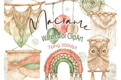 Macrame clipart Watercolor home decor Boho design vintage wedding png