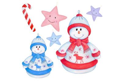 Christmas Cute Snowmen. New Year watercolor illustration.