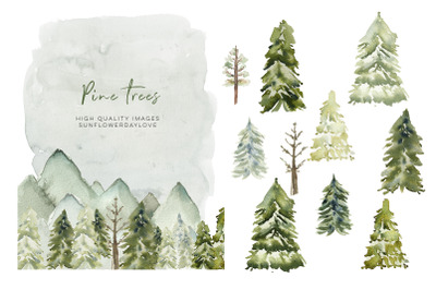 Watercolor Forest Green clipart, Winter Pine Trees clipart