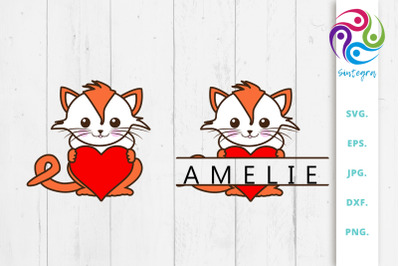 Cat With Heart and Split Monogram Bundle Svg File