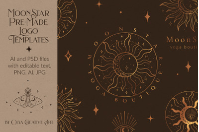 Mystic Sun Moon Logo Templates Kit. Abstract, branding, yoga. Tattoo.