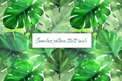 Green tropical pattern. Watercolor