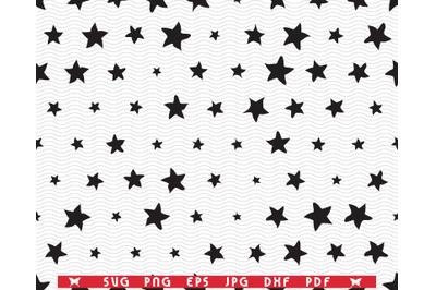 SVG Black Stars, Seamless pattern digital clipart