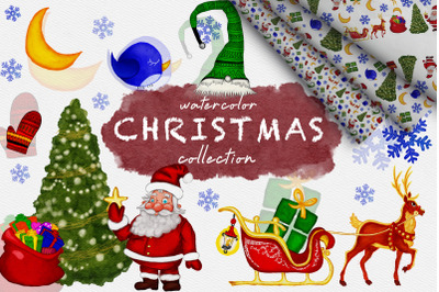 Watercolor Christmas collection and seamless pattern