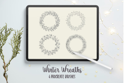 Winter Wreaths Procreate Stamp Brushes