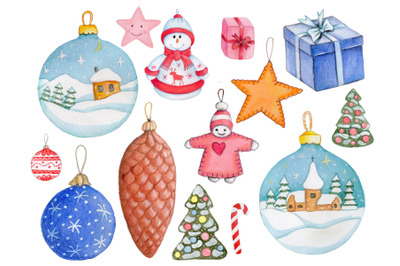 New Year and Christmas Tree Toys. Watercolor.