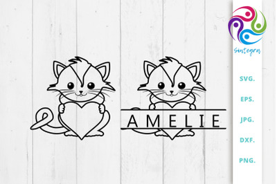 Linear Cat With Heart and Split Monogram Bundle Svg File