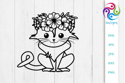 Cat With Flowers Crown On Head Svg File