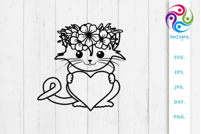 Floral Cat With Heart Svg File