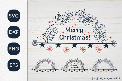 Christmas Wreath SVG graphic for Christmas card, Winter graphics SVG