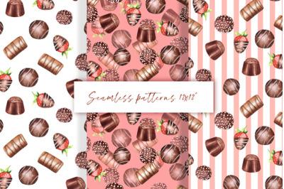 Chocolate seamless patterns